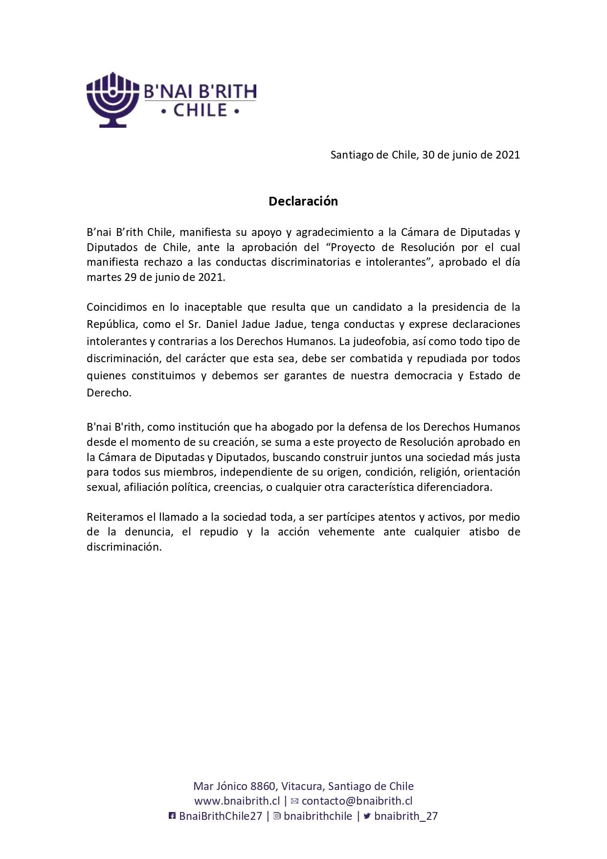 Declaración B'nai B'rith Chile – 30 de junio