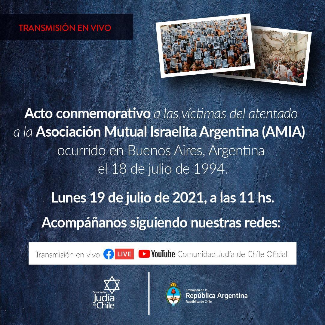 Acto conmemorativo a las víctimas del atentado a la AMIA